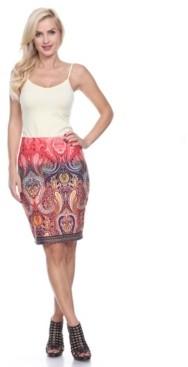 White Mark Knee Length Pencil Skirt