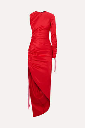 David Koma One-shoulder Ruched Satin Dress - Red