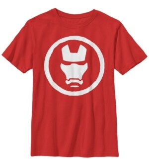 Fifth Sun Marvel Big Boy's Iron Man Mask Icon Short Sleeve T-Shirt
