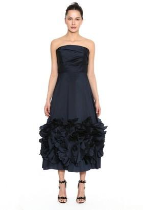 Marchesa Notte Strapless Textured Taffeta Midi Dress