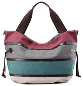 KISS GOLD(TM) Multi-color Canvas Hobo Bag Handbags Shoulder Bag Casual Tote Top Handle Bag for Women, Multi-Color