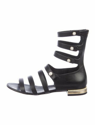 Chanel Faux Pearl Accents Leather Gladiator Sandals Black