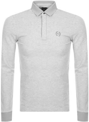 Armani Exchange Long Sleeved Polo T Shirt Grey