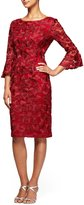 Alex Evenings Embroidered Bell Sleeve Sheath Dress