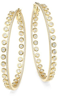 Adriana Orsini 18K Goldplated & Cubic Zirconia Bezel-Set Large Hoop Earrings