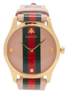 Gucci G Timeless Web Stripe Watch - Womens - Pink