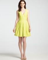 Halston V Neck Dress - Sleeveless with Full Skirt
