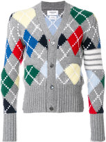 Thom Browne diamond patterned V-neck cardigan
