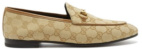 famous brand factory outlets amazing price Gucci Jordaan Gg-jacquard Canvas Loafers - Womens - Beige - ShopStyle