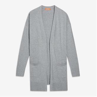 Joe Fresh Women's Open-Front Cashmere-Blend Cardi, Light Grey Mix (Size L)