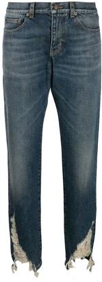 Saint Laurent Distressed-Hem Boyfriend Jeans