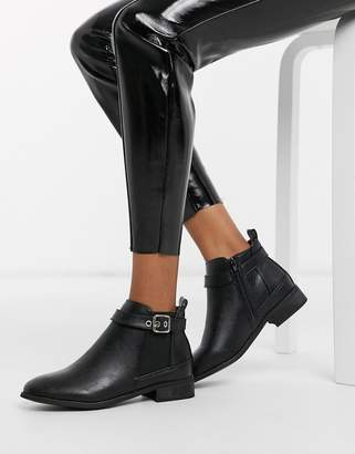 Truffle Collection buckle chelsea boot In black