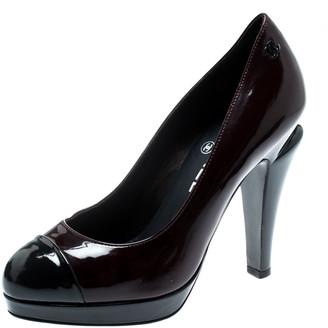 Chanel Black Patent Leather Cap Toe Platform Pumps Size 36