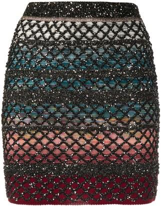 Missoni Metallic Lattice-Knit Mini Skirt