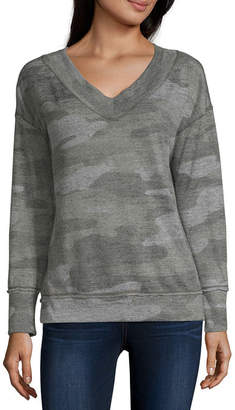 REWIND Rewind Womens V Neck Long Sleeve Sweatshirt