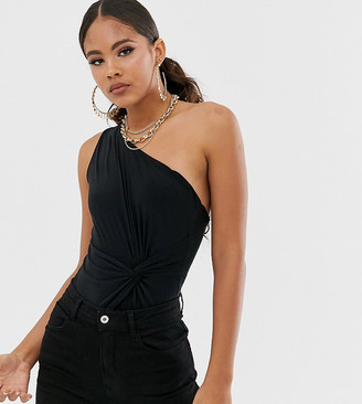 Club L London Tall ruched knot front one shoulder body in black