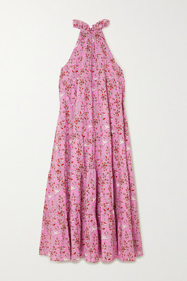 Rhode Resort Julia Tiered Floral-print Cotton-voile Halterneck Dress - Pink
