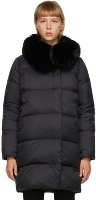 Yves Salomon Black Down Belted Coat