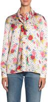 Balenciaga Polka-Dotted Floral Jacquard Silk Scarf Blouse
