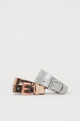 H&M 2-pack Shimmery Belts - Gray