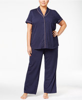 Nautica Plus Size Piping-Trimmed Printed Pajama Set
