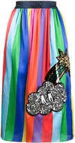Mira Mikati Striped Midi Skirt with Sequin Patch