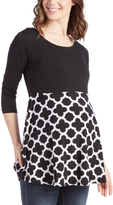Glam Black & Lattice Three Quarter-Sleeve Maternity Tunic