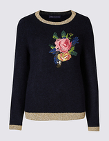 M&S Collection Floral Embroidered Round Neck Jumper