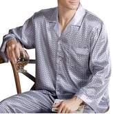 Yiwa Men's Luxurious Sleepwear Silk Pajamas Set Long Sleeve Loungewear Top & Pants 3XL