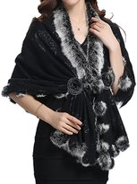 Helan Apparel Helan Women's Rex Rabbit Fur Single Button Cape Coat