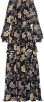 Tory Burch Indie Tiered Printed Silk-georgette Maxi Dress - US0
