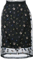 Markus Lupfer embroidered sheer skirt