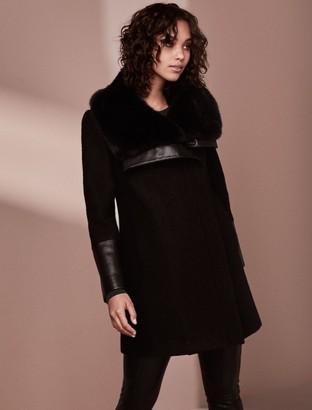 Forever New Ellery Fur Collar Biker Coat - Black - 10