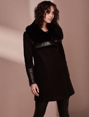 Forever New Ellery Fur Collar Biker Coat - Black - 4