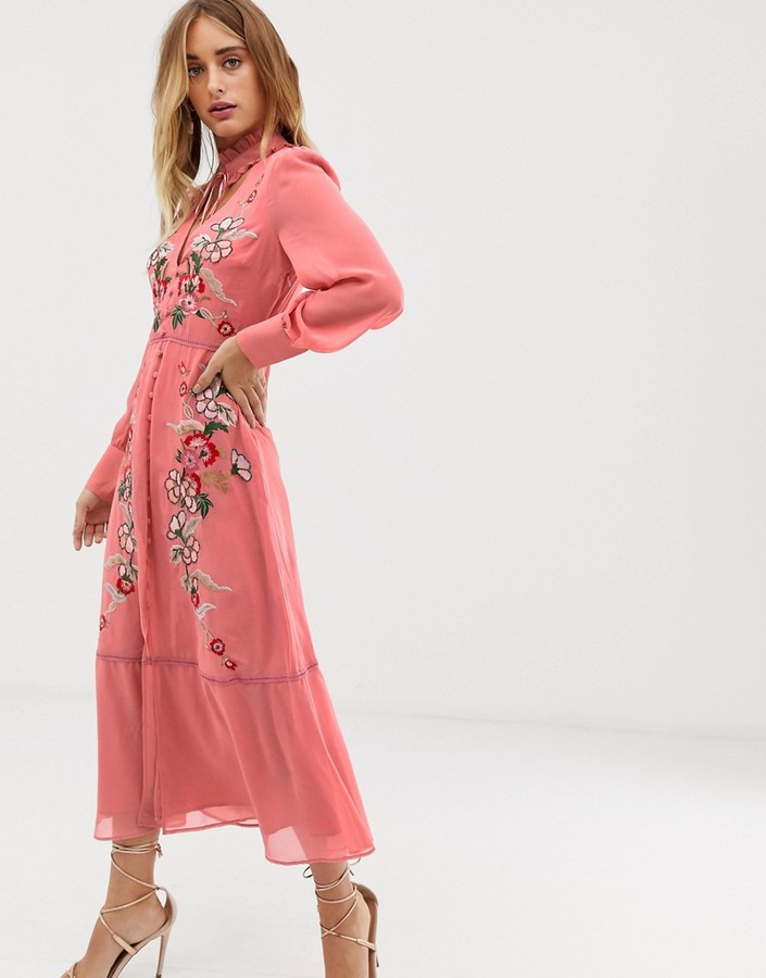 Thumbnail for your product : Hope & Ivy embroidered midaxi dress in pink