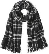 Joe Fresh Women's Essential Check Pattern Scarf, Black (Size O/S)