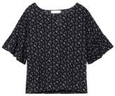 Two By Vince Camuto Floral-print Ruffle-sleeve Top