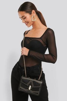 NA-KD Studded Crossbody Chain Bag Black