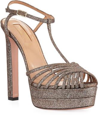Aquazzura Moonlight Metallic Fabric Platform T-Strap Sandals