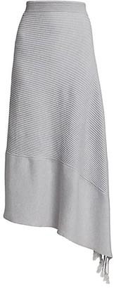 Jonathan Simkhai Grace Drape Rib-Knit Merino Wool-Blend Asymmetric Skirt
