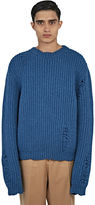 J.w. Anderson Men's Thick Laddered Knit Sweater In Blue
