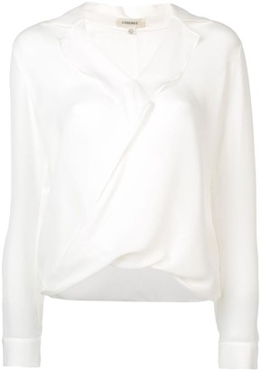L'Agence draped V-neck blouse