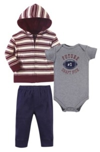 Hudson Baby Baby Boys 3 Piece Cotton Hoodie, Bodysuit and Pant Set