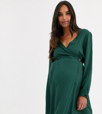 ASOS DESIGN Maternity casual wrap mini dress with long sleeves
