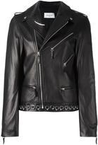 Thierry Mugler piercing detail biker jacket - women - Lamb Skin/Polyester/Viscose - 36