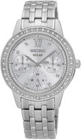 Seiko Womens Crystal-Accent Silver Bracelet Watch