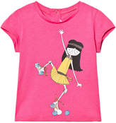 Little Marc Jacobs Pink Miss Marc Rollerskating Print Tee