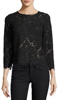 Joie Antonia Lace Leather-Trim Top