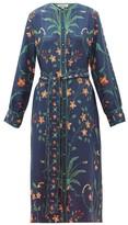 D'Ascoli Floral-print Silk Midi Shirt Dress - Womens - Blue Multi