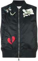 Cinq à Sept sleeveless patch-embellished bomber gilet